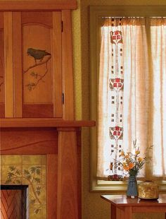 Easy Craftsman Era Curtains. A period design embellishes panels shirred on a pocket rod; curtains by Arts & Crafts Period Textiles.