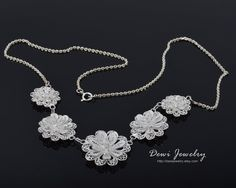 Bunga Sari Necklace 925 Sterling Silver Filigree by DewiJewelry