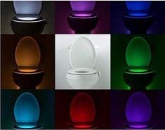 Bewegungs Sensor WC Nachtlicht Toiletten licht, Binwo Toilettenlicht LED Lampe Bewegung Aktiviert Sensor Toilettensch�ssel Batteriebetriebenes Licht 8-Farben-�nderungen