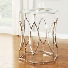 INSPIRE Q Davlin Hexagonal Metal Frosted-glass Accent End Table - Overstock Shopping - Great Deals on INSPIRE Q Coffee, Sofa & End Tables