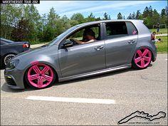 Grey VW Golf Mk6 on Pink wheels by retromotoring, via Flickr