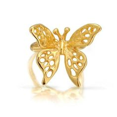 Bling Jewelry Gold Vermeil Open 3D Butterfly Right Ear Cuff 925 Sterling Silver