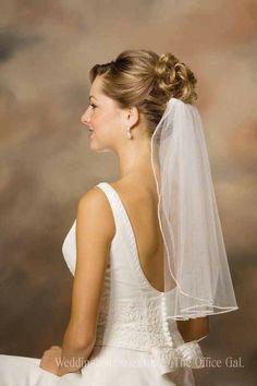 Short Wedding Veil with Tiny Rhinestone Edge. With long hair half up half down.