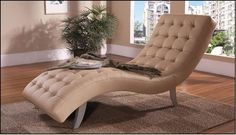 Modern Leather Chaise Lounger W/Button Tufted Seat