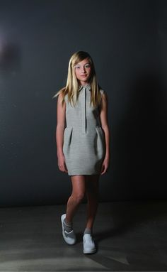 #girl's #grey and #olive cute dress idea for fall layering Kids Fashion  Minimal styling at Bonnie Young for fall 2014 kids and teenage fashion