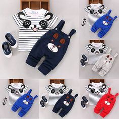 2016 summer baby girl clothes kids gils shorts denim clothing 2pcs Cartoon Toddler Baby Infant Boys Outfits T-shirt Bib Pants