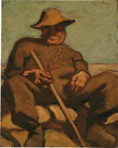 """Albin Egger-Lienz – """"Ruhender Hirte"""", version dated c. Oil on cardboard, cm Cow, Dorotheum, Painting, People, Contemporary Art, Auction, Painting Art, Cattle, Paintings"""