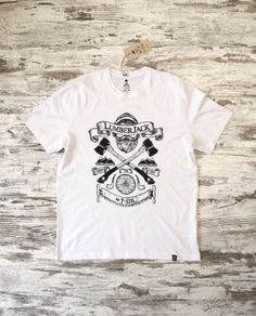 T-SIR Lumberjack White T-Shirt. #lumberjack #ax #cut #woodcutter #wood. 100% cotton, super-soft feel. Tag with brand logo at the bottom left. #tshirt #whitetshirt #tshirtdesign #hipstertshirts #lumberjacktshirts #mens #camisetahipster