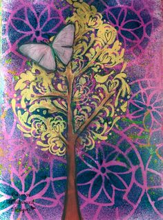 Whimsy Garden Tree Art Journal Page - Carmen Whitehead Designs