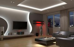 False Ceiling Hall Interior Design false ceiling home dining rooms.Metal False Ceiling New Years. False Ceiling Living Room, Ceiling Design Living Room, Tv Wall Design, Tv Unit Design, False Ceiling Design, Living Room Tv, Living Room Modern, Design Case, Living Room Designs