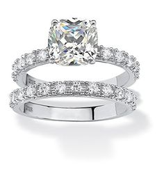2.45 TCW Princess-Cut Cubic Zirconia Platinum over Sterling Silver Bridal Engagement Ring Set - http://www.loveuniquerings.com/silver-wedding-rings/2-45-tcw-princess-cut-cubic-zirconia-platinum-over-sterling-silver-bridal-engagement-ring-set/