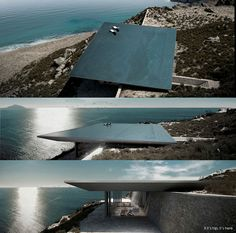 Rimless Swimming Pool Serves As Roof for Mirage House in Greece. | http://www.ifitshipitshere.com/rimless-swimming-pool-serves-roof-mirage-house-greece/