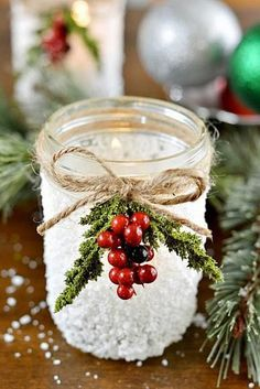 Here are 50 awesome Mason Jar Christmas Decor with step by step tutorial. These Mason jars can be used as Christmas gifts or in your Christmas decorations. Mason Jar Christmas Crafts, Noel Christmas, Mason Jar Crafts, Mason Jar Diy, Christmas Projects, All Things Christmas, Winter Christmas, Holiday Crafts, Christmas Decorations