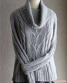 Девочки, нашла сегодня такой интересный свитер с описанием Взято отсюда http://vjazhi.ru/ Надеюсь, кому-то пригодится