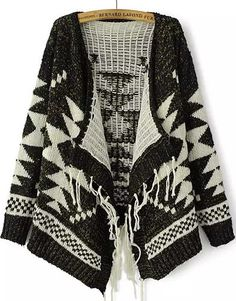 Black Long Sleeve Geometric Pattern Tassel Cardigan