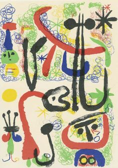 "Joan Miro, ""Personnages et animaux,"" 1950, lithographie 45/75, 29.75"" x 22"""