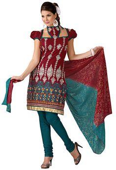 Burgundy Cotton Salwar Kameez #desi #Indian #Kurties #Salwar #Kameez