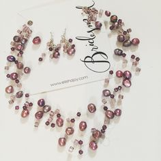 Love this Elisha Joy floating necklace  design for bridesmaids with freshwater pearls, swavorski crystals, and Japanese glass pearls and our new jewelry cards with calligraphy made exclusively for Elisha Joy!
