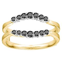 #blackdiamondgem 0.35CT Black Cubic Zirconia Curved Wedding Ring Guard Enhancer set in Two Tone Sterling Silver (0.35CT TWT Black Cubic Zirconia)	by TwoBirch - See more at: http://blackdiamondgemstone.com/jewelry/035ct-black-cubic-zirconia-curved-wedding-ring-guard-enhancer-set-in-two-tone-sterling-silver-035ct-twt-black-cubic-zirconia-com/#sthash.tBx5a85z.dpuf