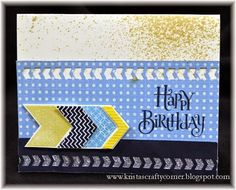 Chevron Happy Birthday Card using the NEW Wanderful paper pack & Chevron Border Punch!! www.kristah.ctmh.com