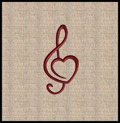 Trebel Clef Embroidery Design Treble clef Heart Embroidery Design Machine Embroidery Design Valentines Music Note Design