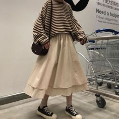 Korean Outfits, Mode Outfits, Casual Outfits, Fashion Outfits, Long Skirt Fashion, Long Skirt Outfits, Outfit With Skirt, Long Skirt Style, Long Skirt Looks