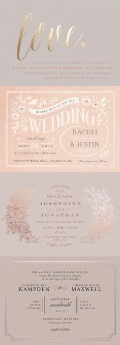 Discover the perfect rose quartz wedding invitation from the unique selection available at Minted.com