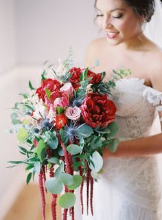 Romantic red bouquet: http://www.stylemepretty.com/2016/07/15/boho-style-winery-wedding/ | Photography: Michael And Carina Photography - http://michaelandcarina.com/