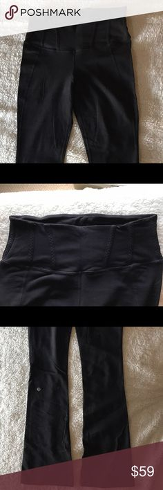 Tadasana Pant by lululemon Slim, boot-cut style with a high-rise. The thick band lays flat and offers support in the waist/hip area ❤️ Hidden pocket in the waistband. Slim through the leg until the calf then boot-cut flare begins. Wears nicely barefoot or with gym shoes. These have been worn and are in great condition, but do have a bit of wear in the gusset area, so are priced accordingly. lululemon athletica Pants Leggings