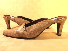 Great looking women's slides in neutral gold tone in size 7 Wide and medium heels by Carriage Court. Nice details make these shoes stand out from the crowd. #Slides