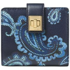 Michael Michael Kors Studio Paisley Natalie Medium Wallet ($78) ❤ liked on Polyvore featuring bags, wallets, admiral, michael kors, blue wallet, michael kors bags, paisley wallet and blue bag