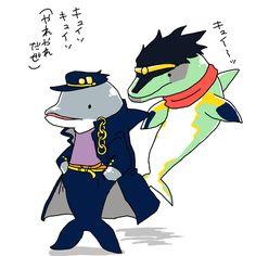 "itachitako: "" Dolphin!!!!!!! イルカ承太郎とイルカスタープラチナさん。 """
