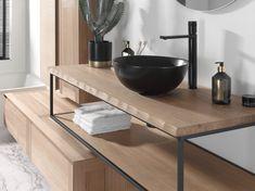 Met Life edge haal je de natuur in huis! Teak in combinatie met een alu frame, een stijl statement in je badkamer! Exclusief verdeeld door X2O #Balmani #X2O #frames #teak #life edge Bathroom, Comme, Architecture, Round Mirrors, Industrial Interiors, Faucets, Frames, Teak, Trends