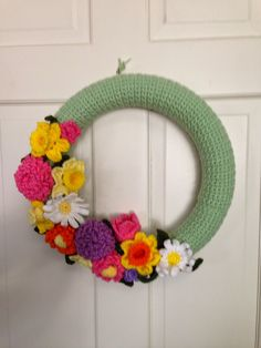 """Croheted Wreath  Large Spring  Wreath 14""""   Spring 2015"""