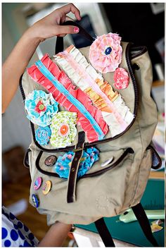 Have an old backpack laying around? Make it fresh and new by adding decoration. Use any crafts you have such as ribbon, pins, flowers, etc. The possibilities are endless. From hoosierhomemade.com #shopko