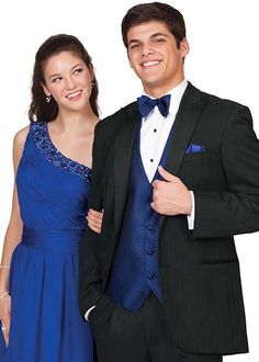Calvin Klein Infinity Pinstripe Tuxedo with royal blue accessories. Prom Styles available at Alexanders Tuxedos in Bridgeport CT