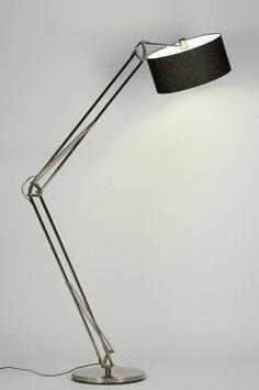 Stehleuchte 88368: modern, Retro, Industrielook, Stahl rostbestaendig, Stoff, schwarz, rund ...