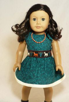 American Girl teal dress with poodle belt, and beaded necklace fits 18 inch doll