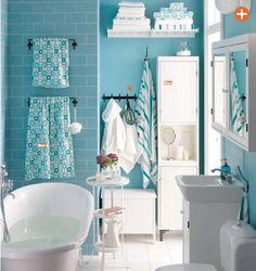 IKEA Small Bathroom Suites Design Ideas with Cabinet Storages and Blue Bathroom Tiles Catalog 2015 Ikea 2015, Ikea Bathroom, Bathroom Furniture, Small Bathroom, Mint Bathroom, Blue Bathrooms, Family Bathroom, Bathroom Interior, Master Bathroom