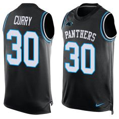 Men's Nike Carolina Panthers #30 Stephen Curry Limited Black Player Name & Number Tank Top NFL Jersey