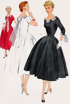 1950s ROCKABILLY Evening Dress & Tie Scarfs Mccalls 9911 Vintage 50s Sewing Pattern Size 14 Bust 32 by sandritocat on Etsy