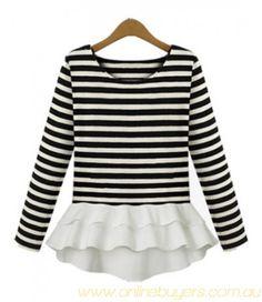Shop Black White Striped Long Sleeve Ruffle T-Shirt online. SheIn offers Black White Striped Long Sleeve Ruffle T-Shirt & more to fit your fashionable needs. Long Sleeve Peplum Top, Long Sleeve Tops, Chiffon Ruffle, Ruffle Top, Ruffles, Ruffle Shirt, Chiffon Shirt, Ruffle Sleeve, Flutter Sleeve