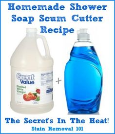 The heat from this homemade shower soap scum cutter is one of the reasons it is so effective! {full recipe on Stain Removal 101, plus several others}