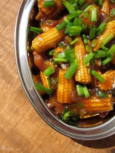 Recepty z Indie: Chilli baby kukuricky Russian Recipes, Indie, Curry, Dishes, Vegetables, Eat, Cooking, Ethnic Recipes, Onions