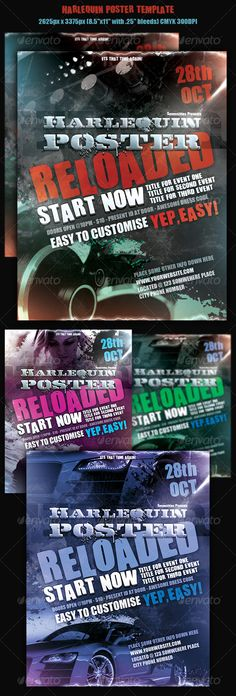 Harmony Flyer Bundle  Glow Party Events And Fonts
