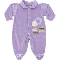 Macacão de Plush para Bebê e Recém Nascido Menina Lilás - Travessus :: 764 Kids | Roupa bebê e infantil