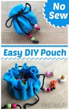 Sew Pouch DIY DIY No Sew Pouch - a super cute and easy DIY for kids and grown ups alike!DIY No Sew Pouch - a super cute and easy DIY for kids and grown ups alike! Sewing Projects For Kids, Sewing For Kids, Sewing Crafts, Sewing Ideas, No Sew Crafts, No Sew Projects, Felt Crafts Kids, Sewing Box, Easy Diys For Kids