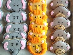 Elephant, Lion and Monkey cookies - Great for zoo theme Jungle Party, Safari Party, Baby Party, Lion Cookies, Monkey Cookies, School Birthday, Girl Birthday, Birthday Parties, Zoo Party Themes