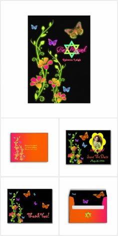 Neon Colors Bat Mitzvah Designs