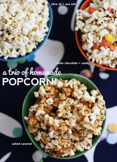A Trio of Perfect Homemade Popcorn: Olive oil & Sea salt, White Chocolate and Candy, Salted Caramel Appetizer Recipes, Snack Recipes, Cooking Recipes, Cooking Tips, Appetizers, Salted Caramel Popcorn, Carmel Popcorn, Chocolate Popcorn, Caramel Corn